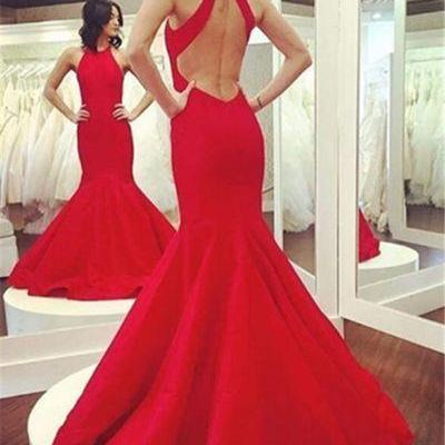 Open Back Mermaid Red Long Prom Dress Halter Neck Floor Length Women Dress