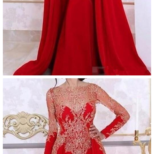 Arabic Red Long Sleeve Evening Dress,Mermaid Evening Dresses ,Detachable Skirt Lace Prom Dress,Beading Sequin Kaftan Formal Women Party Gown