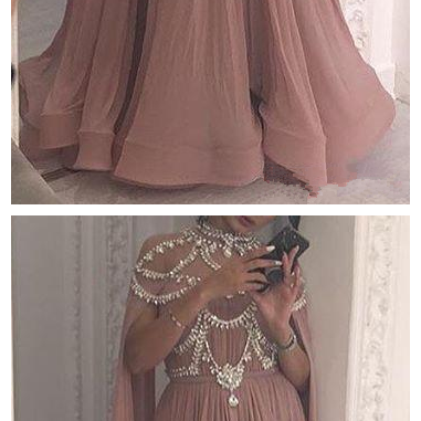 New Blush Pink Prom Dress,High Neck Beaded Crystal Prom Dresses,A-Line Formal Evening Occasion Dresses, Party Gown Custom Made Hot Sale