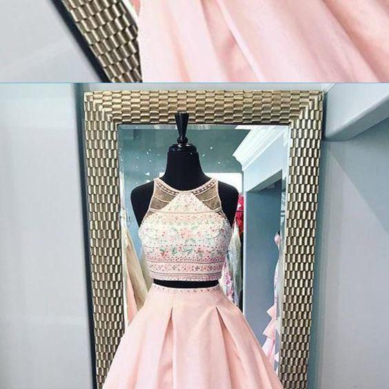 two piece long floral lace senior prom dress
