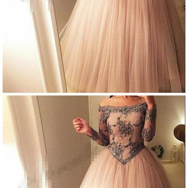 Ball Gown Prom Dress, Off the Shoulder Full Sleeves Princess Dress,Prom Dresses
