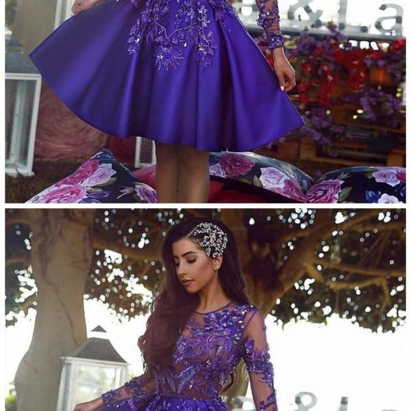 A-Line Round Neck Prom Dress,Long Sleeves Royal Blue Prom Dresses,Short Prom Dress with Appliques