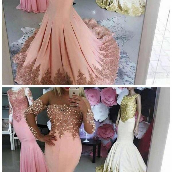 Pink Evening Dress, Lace Applique Prom Dresses, Long Sleeve Evening Dresses, Elegant Evening Dress, Mermaid Evening Dress, Evening Dresses , Cheap Evening Dress, Women Formal Dress, Beaded Evening Dress, Evening Dresses
