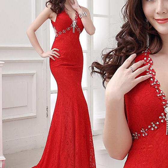 Elegant Evening Dress, Long Prom Dresses,Sexy Lace Party Dresses,Costume Red V-Neck Evening Dresses,Slim Pierced Mermaid Formal Dress,Open Back Banquet Formal Dresses