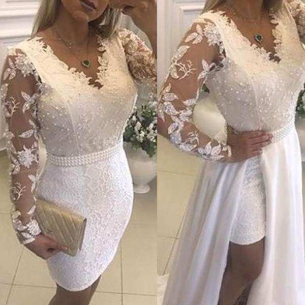 Fashion Lace Prom Dress,Chiffon V-neck Neckline Prom Dresses,Long Sleeves 2 In 1 Prom Dress With Beaded Lace Appliques