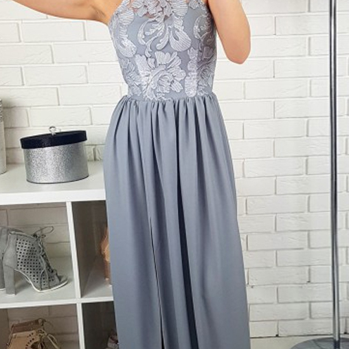 Fashion A Line Halter Long Grey Lace Satin Prom Dress,Evening Dress With Slit