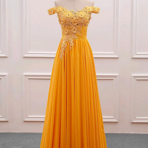 Fascinating Tulle Prom Dress, Chiffon Off-the-shoulder Neckline Prom Dresses,A-Line Prom Dress With Beaded Lace Appliques