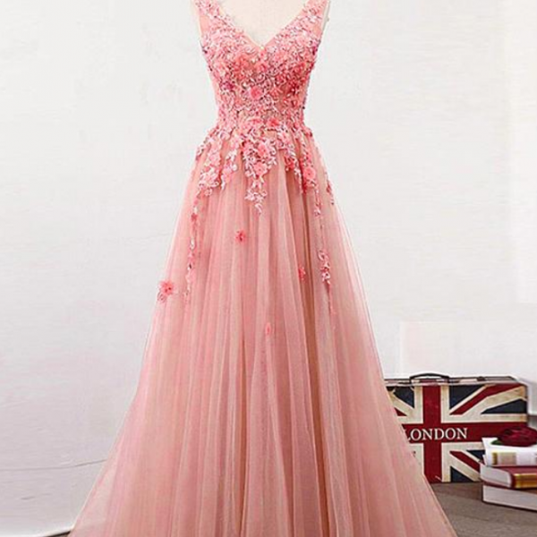 Exciting Tulle V-neck Neckline Evening Dresses ,Floor-length A-line Prom Dress With Lace Appliques , Handmade Flowers & Beadings Evening Gown ,Sexy Long Prom Gown
