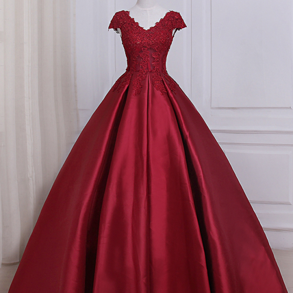 Burgundy Satin Lace Applique Prom Dresses ,Featuring Scoop Neckline Prom Dress,Long New Formal Dress, Party Dresses