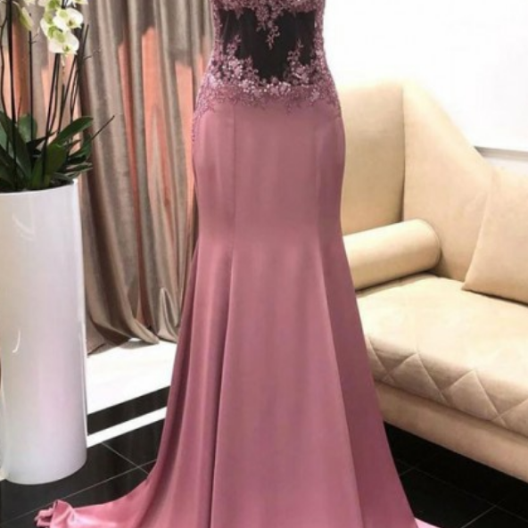 Modest Mermaid Sweep Train High Neck Sleeveless Purple Prom Dress with Appliques