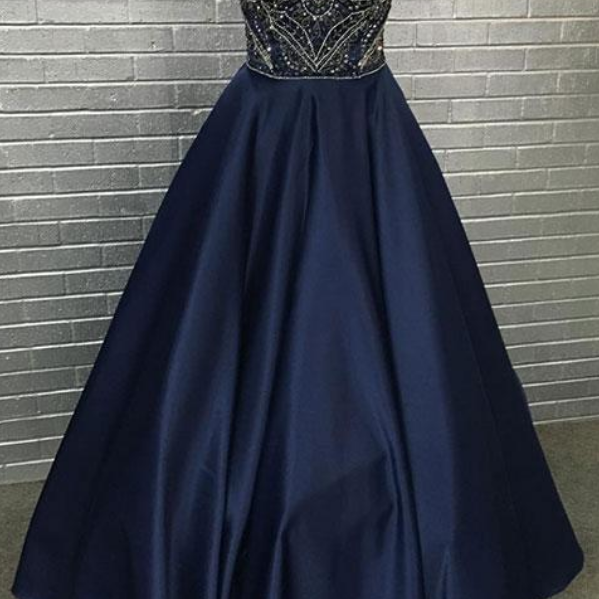 sweetheart neck beading long prom dress, evening dress